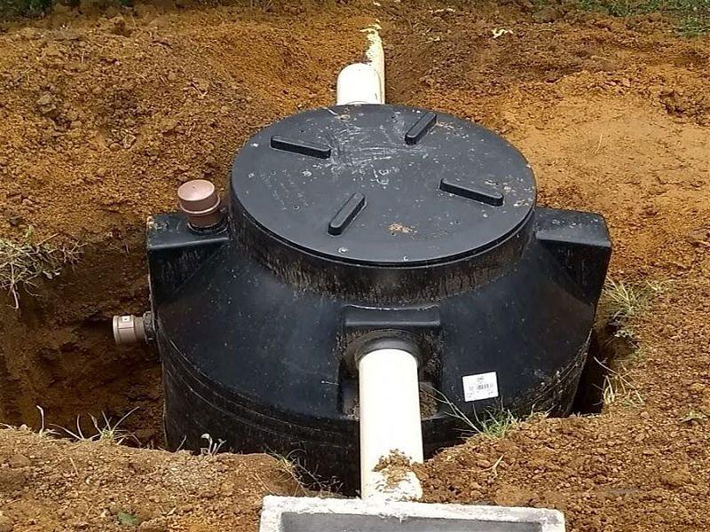 Fossa biodigestora em construção visto de cima