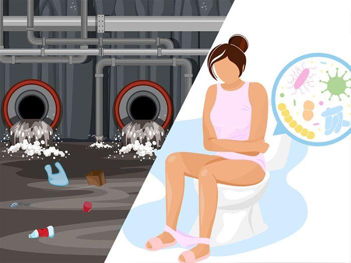 Desenho de uma saída de esgoto e uma mulher com dores no banheiro sentada na privada