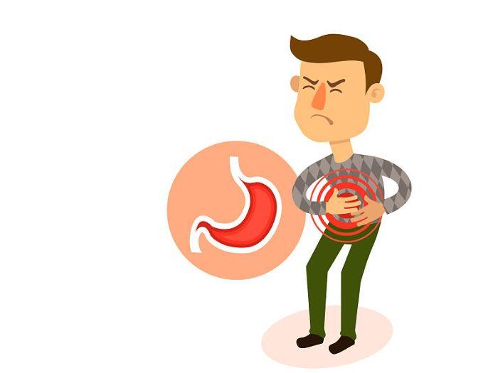 Desenho de um homem com dores no estômago