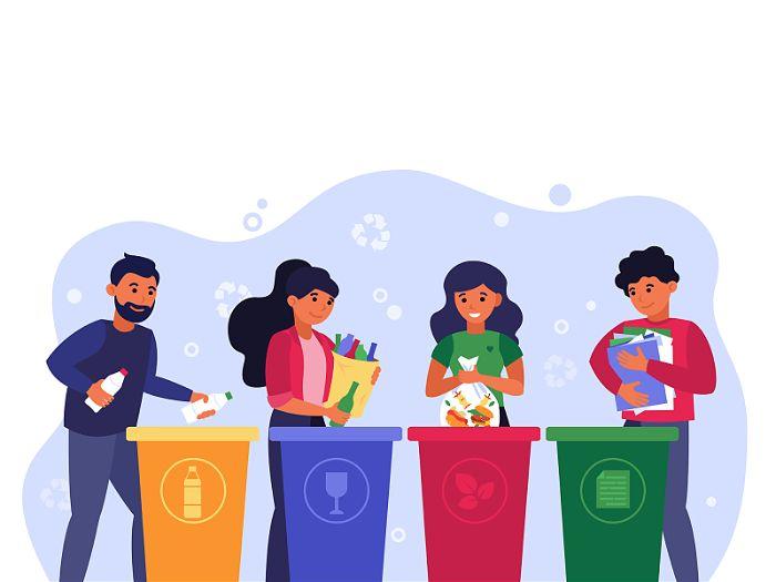 Desenho gráfico de jovens jogando lixo em latas recicláveis