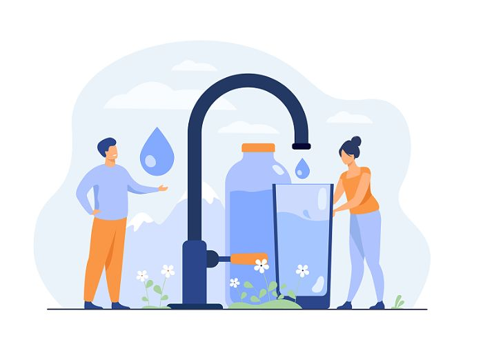 Desenho gráfico de duas pessoas enchendo um copo d'água