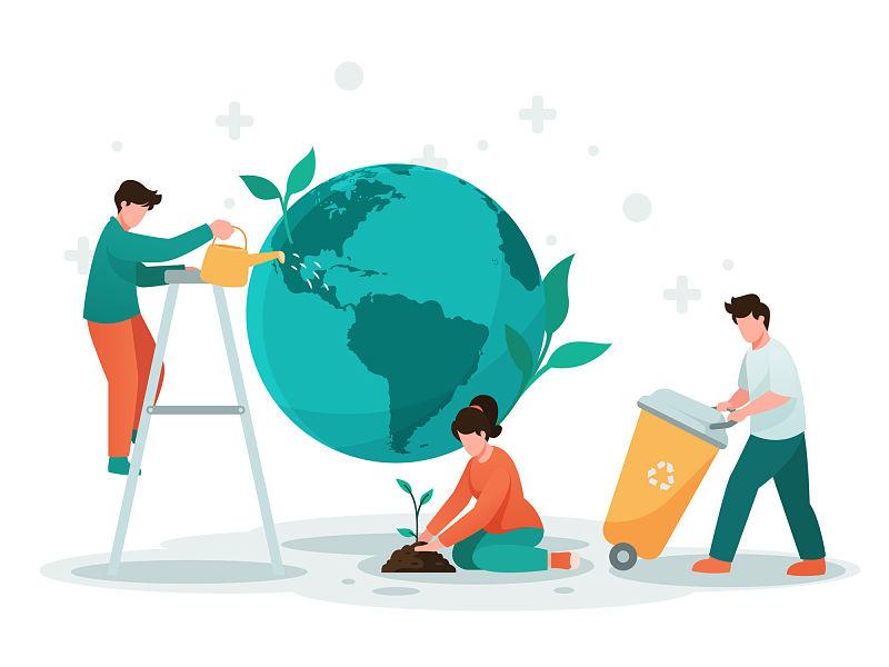 Desenho de três pessoas, uma plantando muda, outra com cesto de lixo reciclável e outra em cima de escada regando o planeta terra