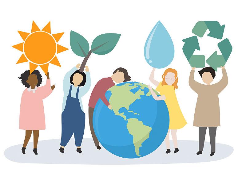 Desenho de cinco pessoa, uma esta segurando o sol, outra um galho com planta, outra abraçando o planeta terra, outra ainda segurando uma gota gigante e por fim outra pessoa segurando o símbolo de reciclagem