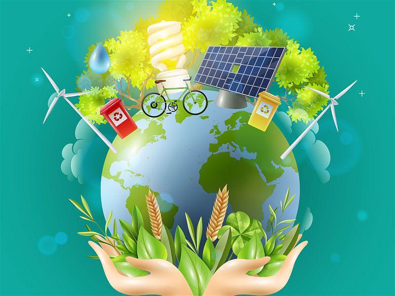 Desenho de mão segurando planeta terra com diversos objetos e coisas sustentáveis