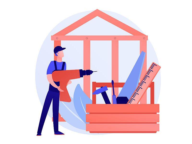 Desenho de homem segurando furadeira em frente de estrutura de casa perto de ferramentas métricas e de construção