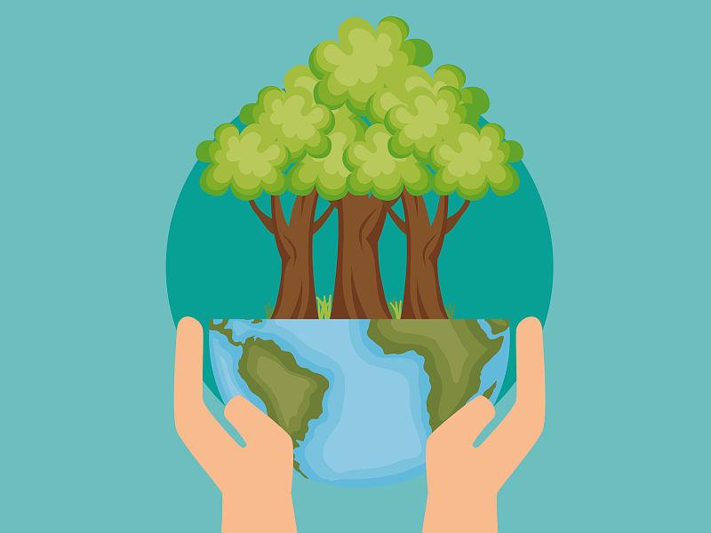 Desenho de mão segurando uma esfera com desenho na parte de baixo do planeta terra e em cima desenho de árvores