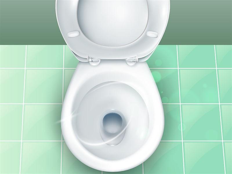 Vaso sanitário branco com tampa aberta funcionando perfeitamente