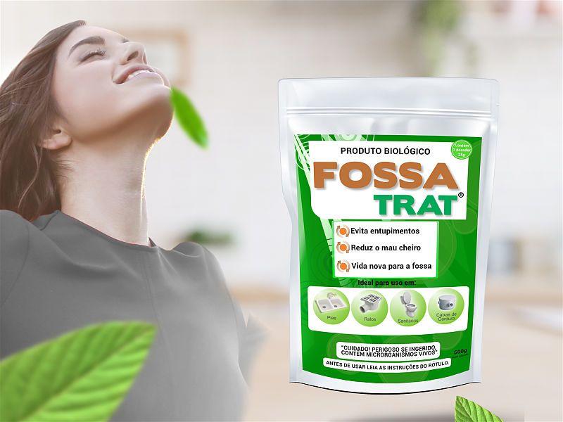 Imagem com mulher representando tranquilidade ao fundo e em primeiro plano embalagem do produto Fossa Trat